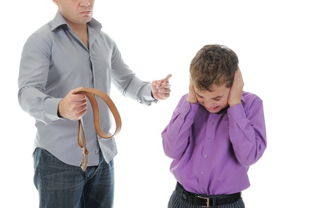 Strict father punishes his son Stock Photo - 11361407