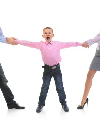 girl kick: Parents share child. Stock Photo