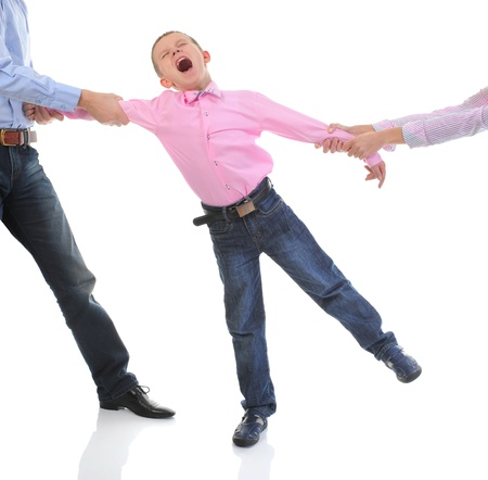man yelling: Parents share child. Stock Photo