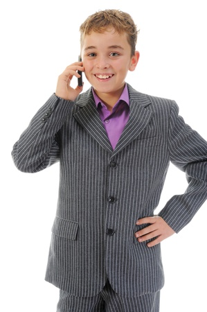 boy talking on the phone. photo