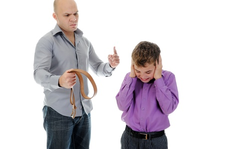 Strict father punishes his son Stock Photo - 11360688