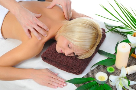 Young woman at spa procedure photo