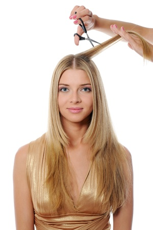 Stylist updo young blonde woman photo