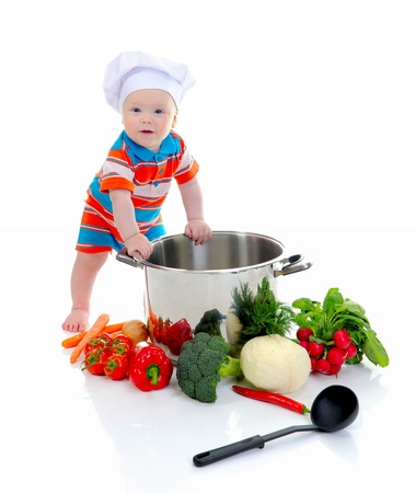 Boy with a pan photo