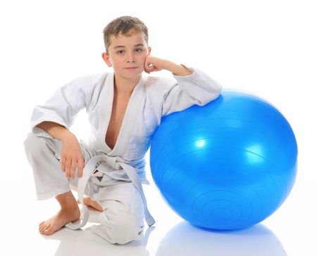 Young boy training karate  photo