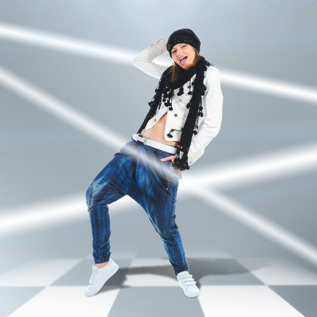 hip hop style: Young woman dancer jumping