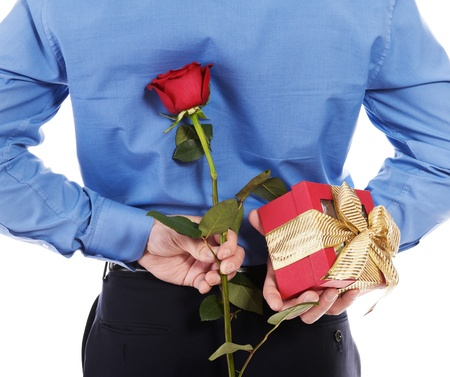 man with a gift box and a rose 版權商用圖片
