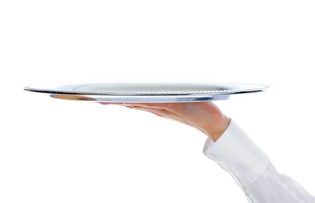 Waiter holding empty silver tray photo
