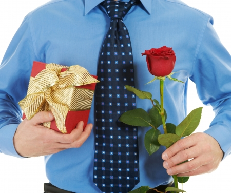 man with a gift box and a rose photo