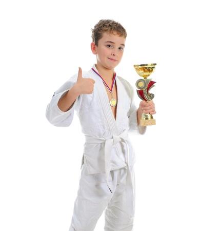 karate boy: Young boy training karate