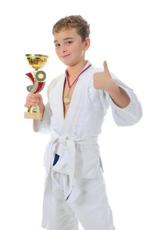 jujitsu: Young boy training karate