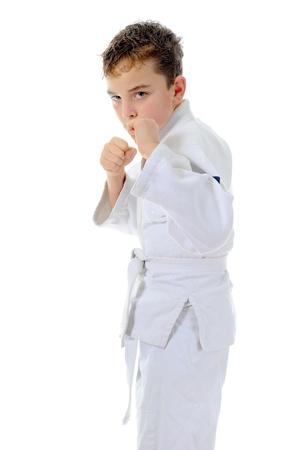 Young boy training karate  photo