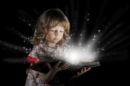 Teen girl reading the Book