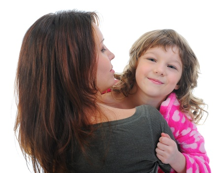 cheerful girl hugs her young mother Stock Photo - 13947203