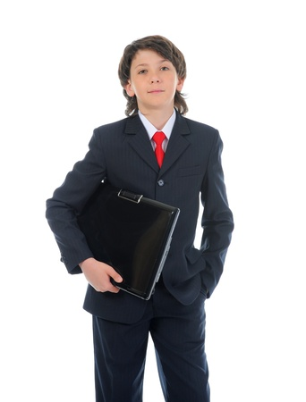 portrait of a boy businessman in a business suit photo