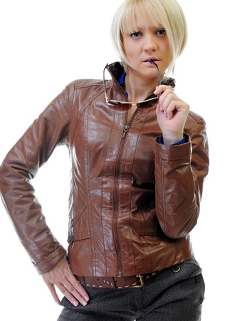 young woman in a leather jacket Stock Photo - 14009832