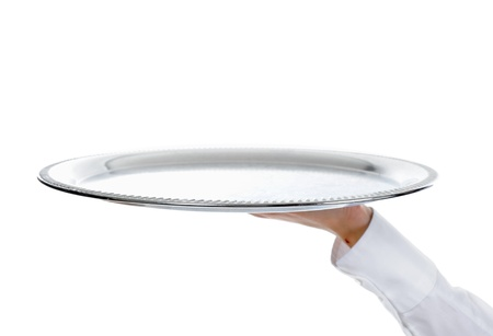 serving: Waiter holding empty silver tray