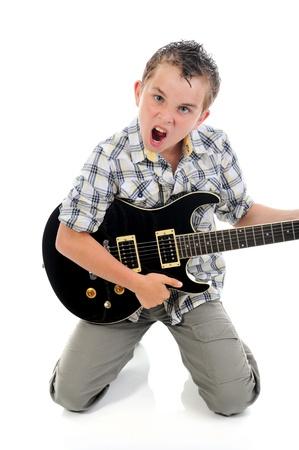guitar player: Little musician playing guitar Stock Photo