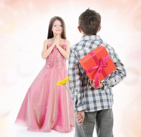 boy gives gift photo