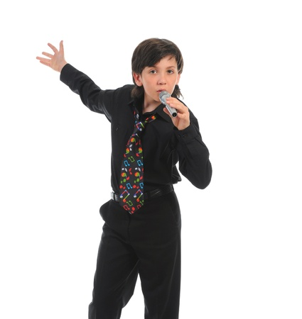 child singing: Little boy with microphone