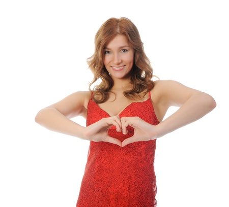woman holding a heart photo