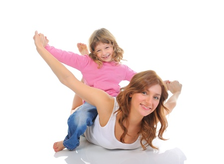 cheerful girl hugs her young mother  photo