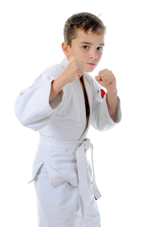martial: Young boy training karate