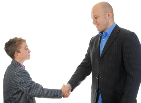 Handshake man and boy Stock Photo