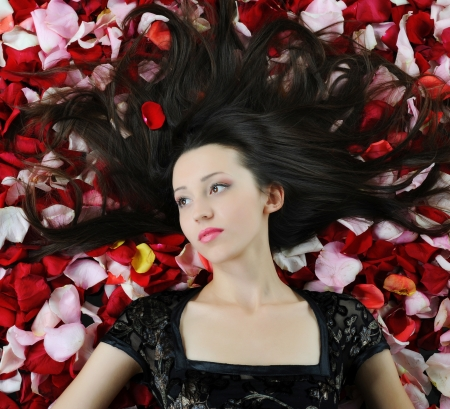 beautiful brunette in red rose petals photo