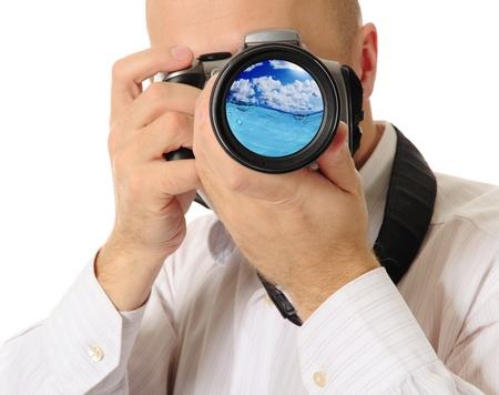 Man holds a camera Stock Photo - 17620795