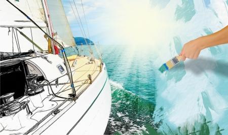 open sea: Yacht in the open sea