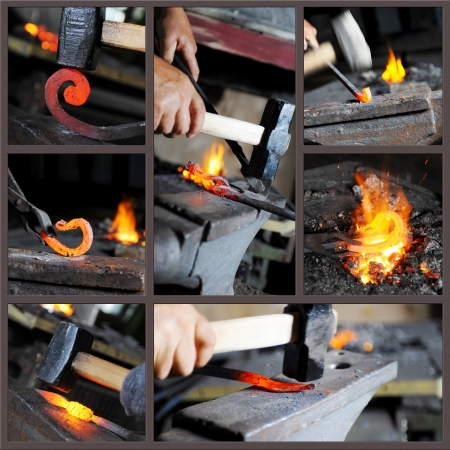 smithery: Incandescent element in the smithy Stock Photo