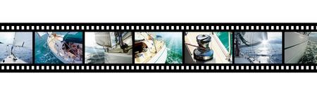 navigating: Film strip with pictures Yacht in the open sea