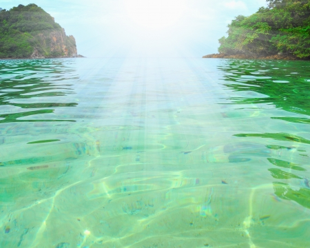 mirage: Tropical island in the open sea Stock Photo