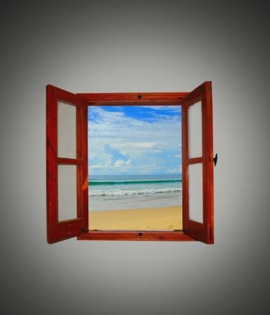mediterranean interior: Sea view through an open window Stock Photo