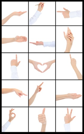 hand gestures: Hand on white backgroud
