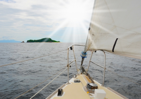 navigating: Yacht in the open sea
