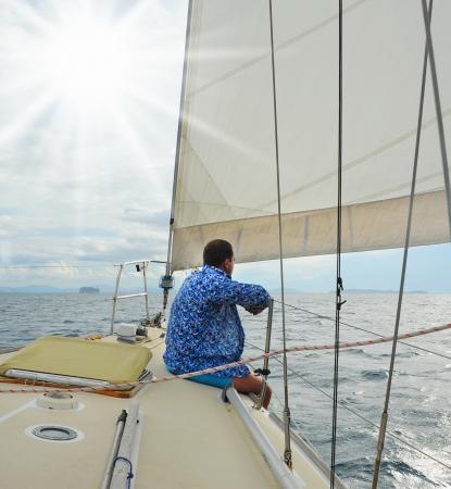 mooring: Yacht in the open sea