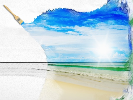 sunny day: Sunny beach tropical en la isla Foto de archivo