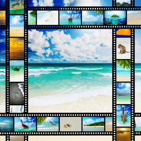 Film strip with beautiful holiday pictures photo