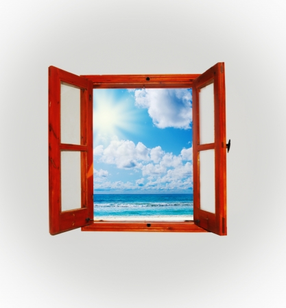 window open: Sea view through an open window Stock Photo