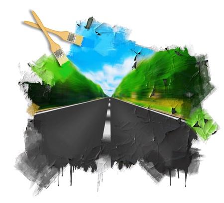 高速道路の地平線に消える