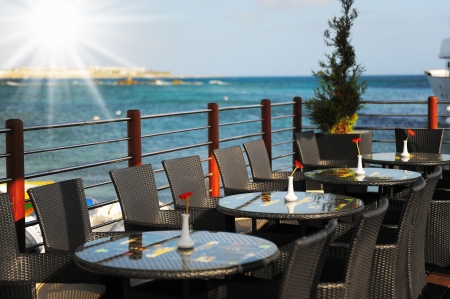 restaurant overlooking the sea photo