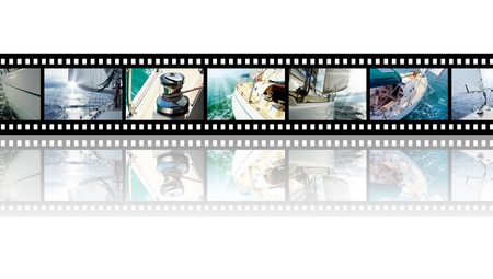 open sea: Film strip with pictures Yacht in the open sea