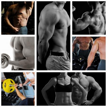 levantamiento de pesas: Bodybuilder posando en el fondo negro