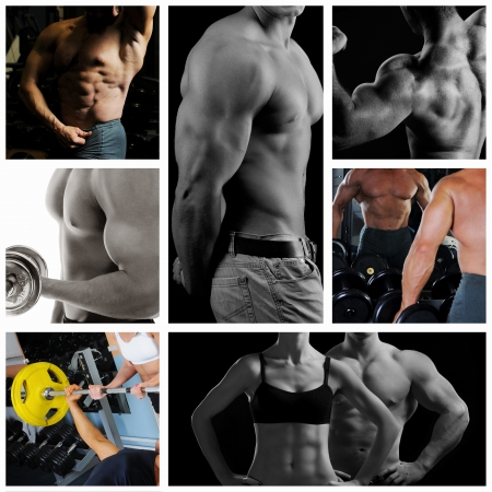 weightlifting: Bodybuilder posing on the black background Stock Photo