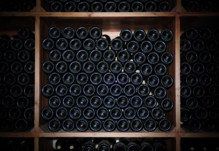 vino: Old bottles of red wine