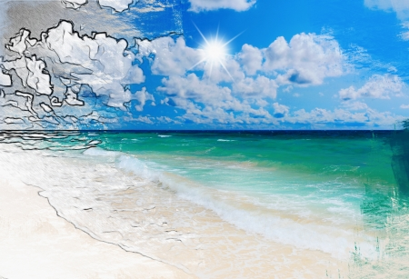 Sunny tropical beach on the island photo