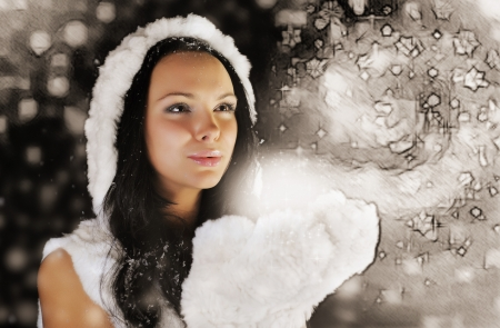 Young girl with magical gift photo