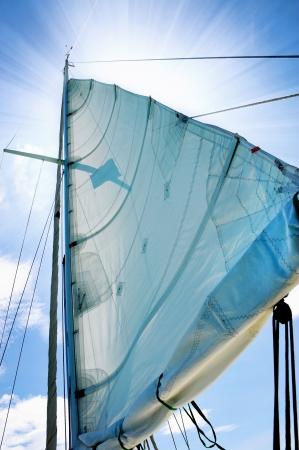 jib: Yacht in the open sea
